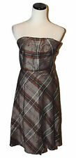 Banana Republic Brown Ivory Grey Fall Plaid Linen Cotton Lined Strapless Dress 0