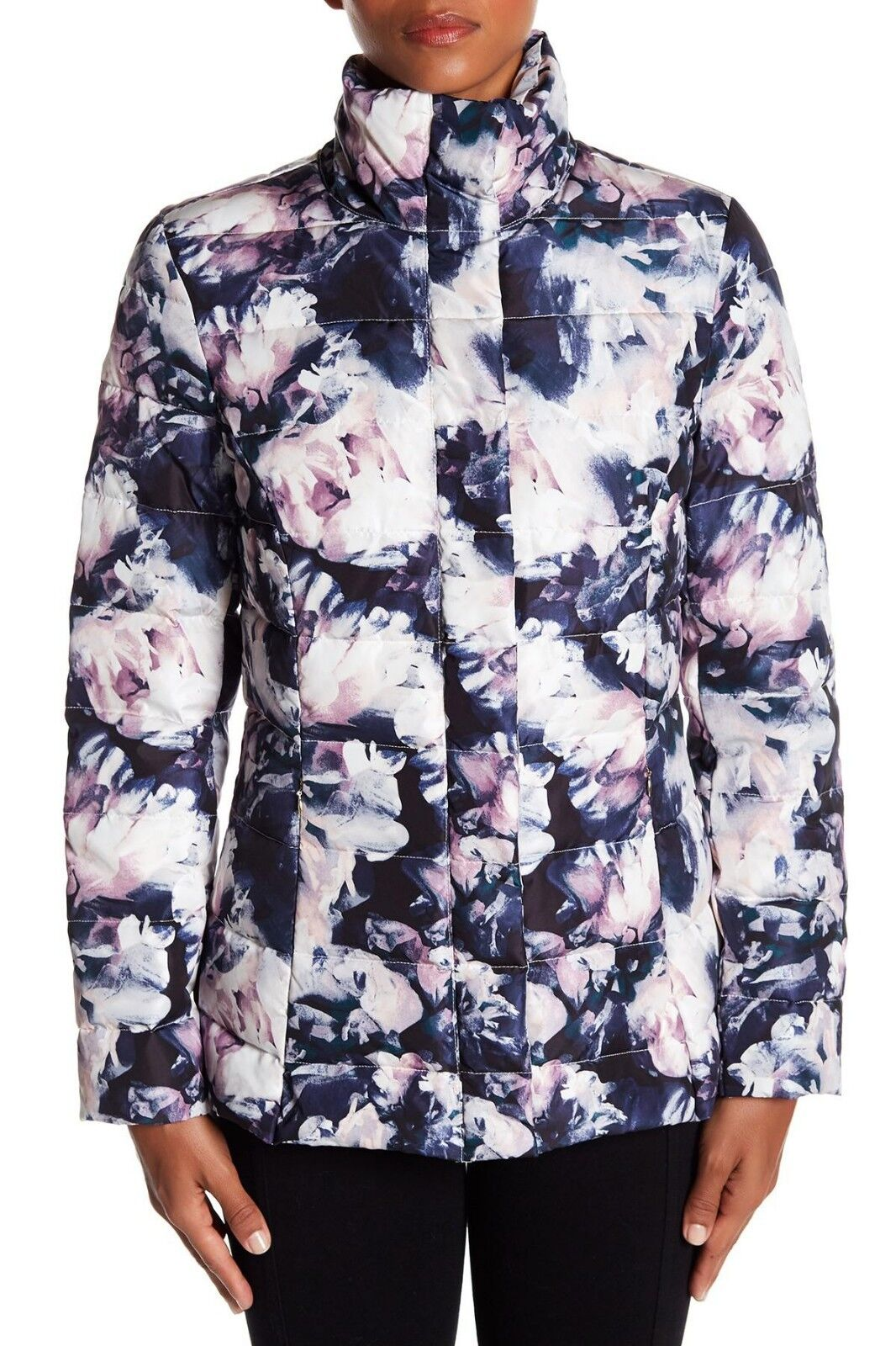 NEW Eliza J Floral Puffer Coat Women's Navy Multi Size M