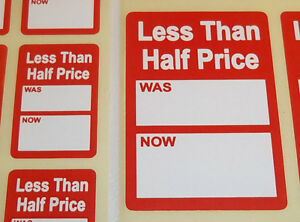 Bright-Red-LESS-THAN-HALF-PRICE-Was-Now-Point-Stickers-Swing-Tag-Sticky-Labels