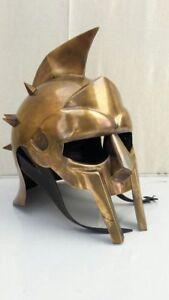 Maximum Gladiator Helmet 300 Movie Helmet+Liner Antique Brass Halloween Gift