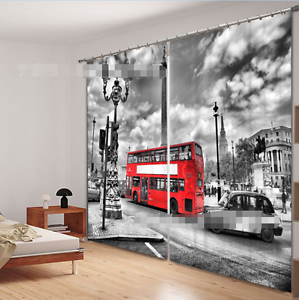 3D Retro London Blockout Photo Curtain Printing Curtains Drapes Fabric Window CA