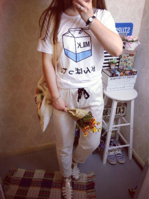 Quality Women Harajuku Cute Soft Milk Print Loose T-Shirts Basic Tee Tops bgy