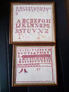 Lot-de-deux-anciens-abecedaire-encadres-bon-etat