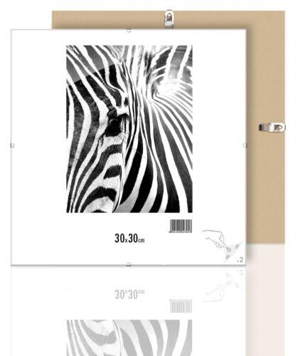 Rahmenloser Bilderrahmen Rahmen Kunstglas Plexi 30x30 cm Bildträger mit Clip