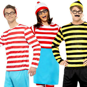 Wheres Wally Odlaw Mens Fancy Dress World Book Day Week Adult Costume Outfit New