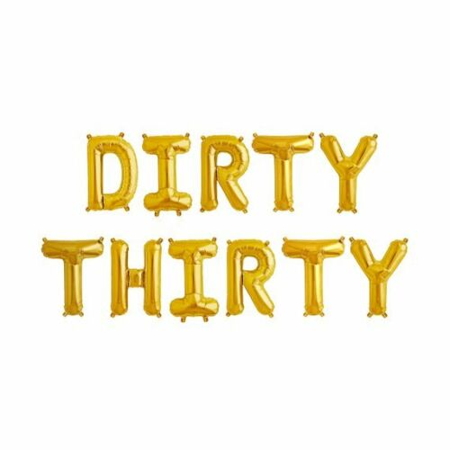 """30th Birthday DIRTY THIRTY Letter Balloons UK Seller 16/"""" Gold Balloons"""