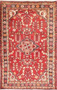 Lilian-Persian-Area-Rug-4-x-6-Handmade-Oriental-Floral-Wool-Vintage-Carpet-Red