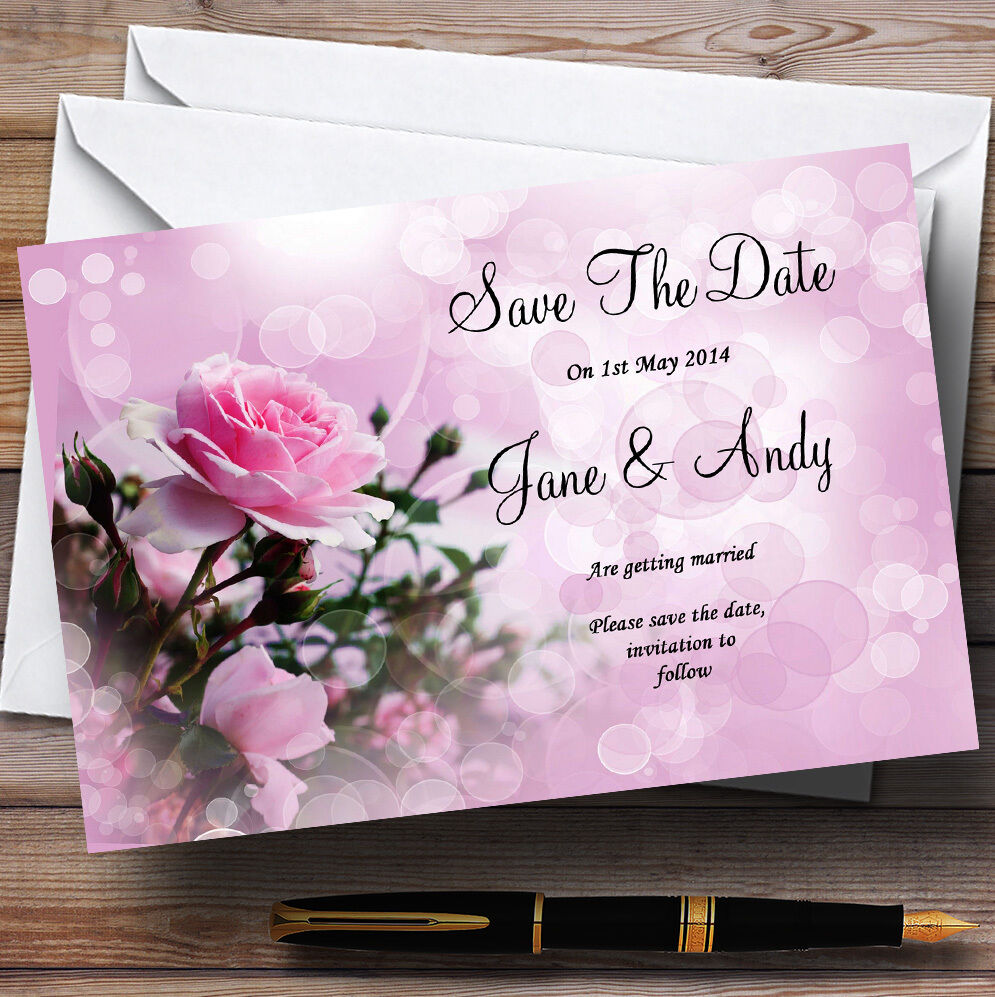 Rosa Rosa Bubbles Personalised Wedding Save Save Save The Date Cards cd99e5