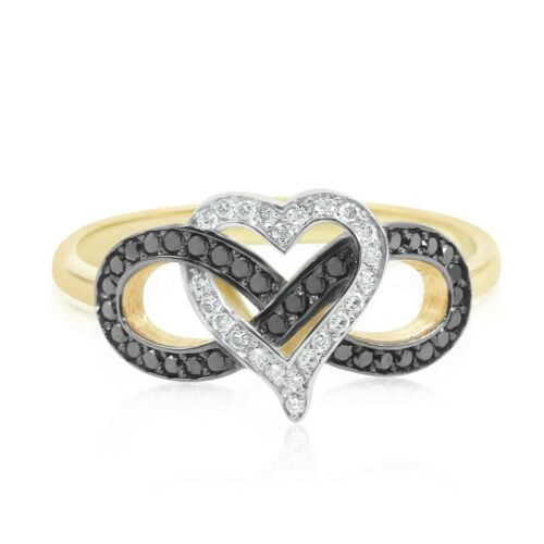 14K Solid Yellow Gold White  Heart Natural Diamond Ring Size 8