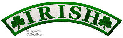 IRISH LUCKY SHAMROCK PATCH clover LARGE 13-INCHES ARCH EMBROIDERED IRON-ON BACK