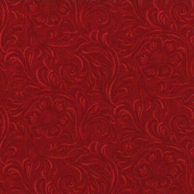 KING OF THE RANCH~BY 1/2 YD~MODA~DARK RED TOOLED  LEATHER~COTTON PRINT~11216-11