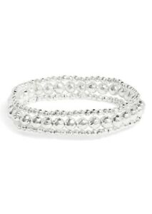 Gorjana Taner Beaded Silver Bracelet Set Of 3 183205S