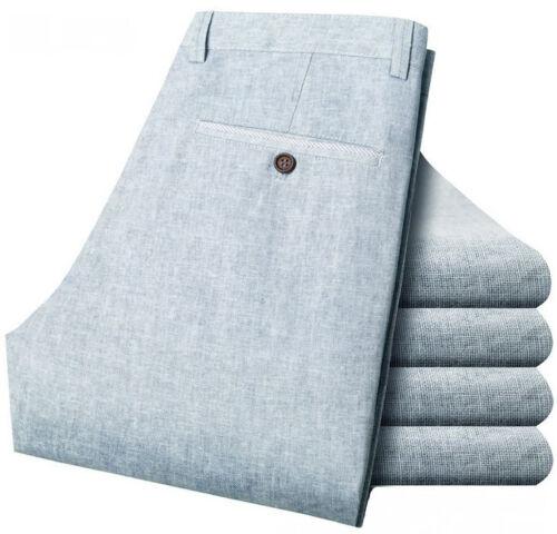 New-Men/'s Trousers Cotton Linen Slacks Summer Slim Casual Pants All Waist Size