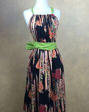 J Los Angeles Floral Cotton Halter Dress w Big Green Self Tie Bow Size XS