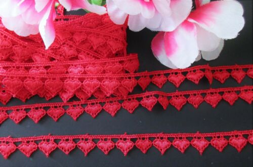 Exquisite heart embroidery lace trim //ribbon= selling by the yard //select color//