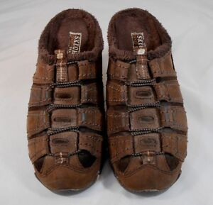 3d514e0b7f6f Skechers 47013 Womens Mules Shoes Size 6 M Leather Faux Fur Lining ...