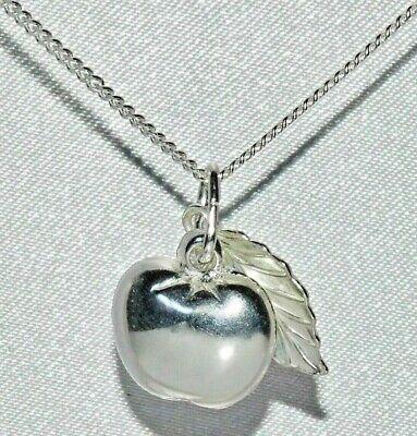 925 Sterling Silver Apple & Leaf Pendant + Choice Of Chain ~ Reinweiß Und LichtdurchläSsig