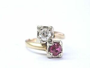 Vintage-Old-European-Cut-Diamond-amp-Ruby-Yellow-Gold-TWIN-Ring-14KT-73Ct