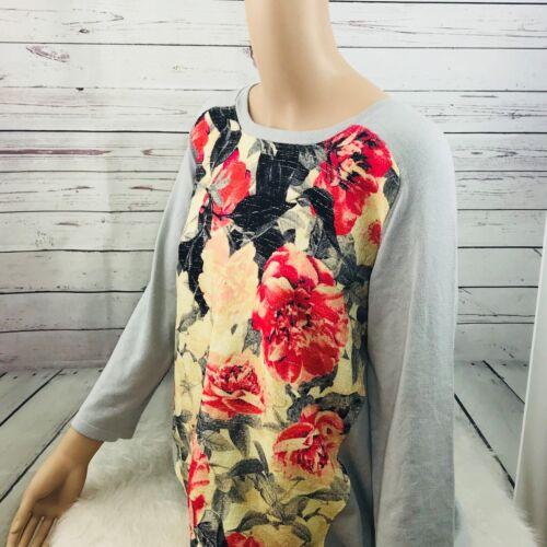 Alfani Floral Tweed Raglan Sweater Print Panel Womens Gray Pullover style