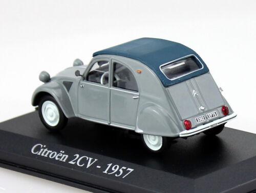 Die-cast Citroen 2CV Ente grau 1957 1:43 RBA-Vitrine Modellauto