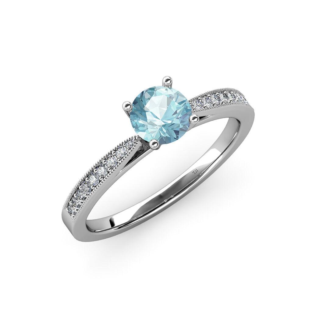Aquamarine & Diamond Engagement Ring with Milgrain Work 0.91 ct tw in 14K gold