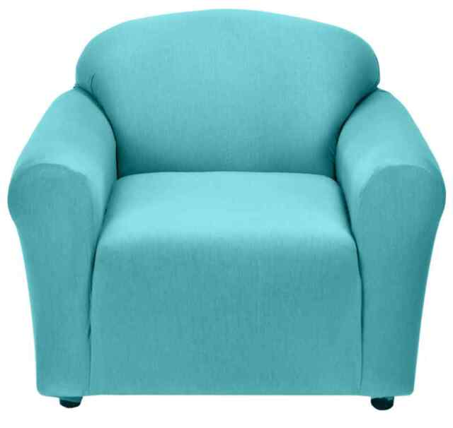"""JERSEY """"STRETCH"""" CHAIR COVER THROW SLIPCOVER--LAZY BOY-AQUA-10 SOLIDS & 3 PRINTS"""