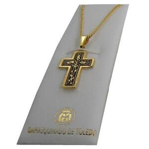 Damascene-Gold-Crown-of-Thorns-Design-Cross-Pendant-Necklace-by-Midas-of-Toledo