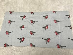 Robin red breast birds tartan check cotton flannelette remnant craft material