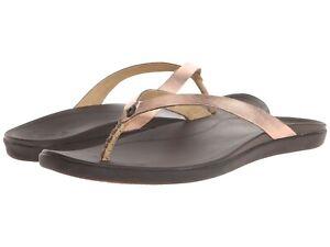 Women-039-s-OluKai-HO-039-OPIO-LEATHER-Flip-Flop-Sandals-Copper-Dark-Java