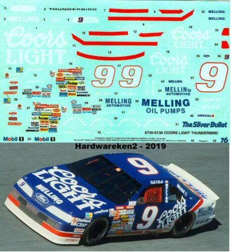 NASCAR DECAL # 9 COORS LIGHT 1991 FORD THUNDERBIRD BILL ELLIOTT 1//25