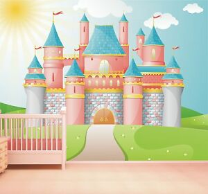 Image Is Loading Princess Castle Wallpaper Mural Feature Wall Design Girls