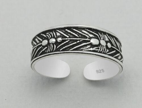 TJS 925 Sterling Silver Ants Leaf Design Toe Ring Adjustable Jewellery Oxidised