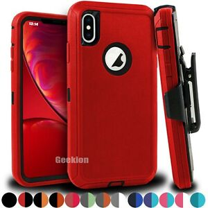 For Apple iPhone X XS MAX XR Shockproof Rugged Protective Case + Belt Clip