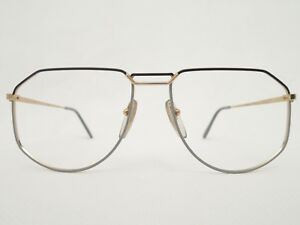 Vintage-Brille-Brillengestell-Flair-Germany-56-20-140-80er-aviator-grau-NOS