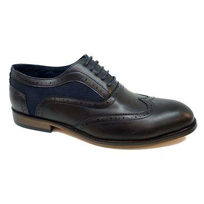 Herren Schuhe, Halbschuhe, Schwarz oder Schwarz Blau, echt Leder, Budapester-Art
