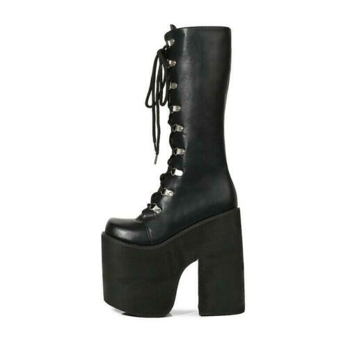 Womens Punk Platform Block Mid-Calf Shoes Club Gothic Cosplay Knee High Boots