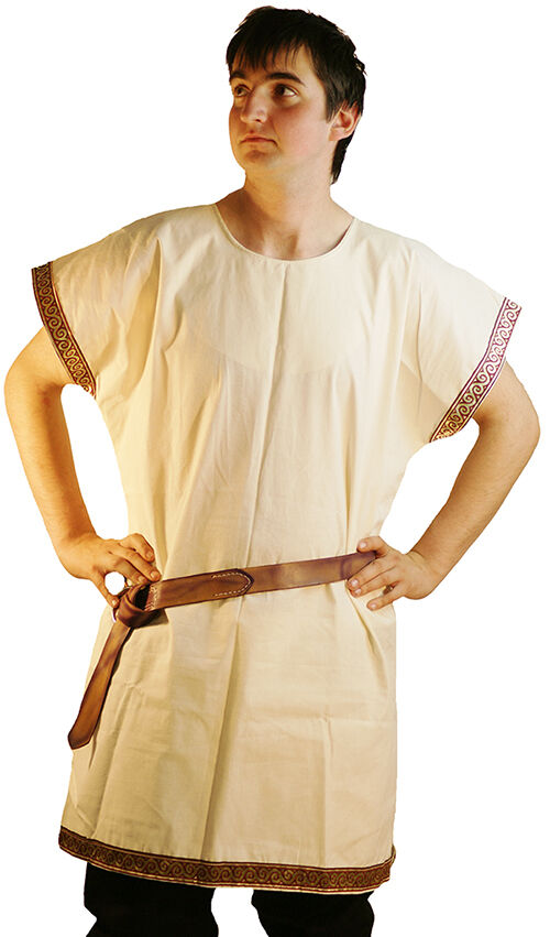 Medieval-LARP-Re enactment-GREEK-ROMAN-Calico Sleeveless Braided Tunic ALL SIZES