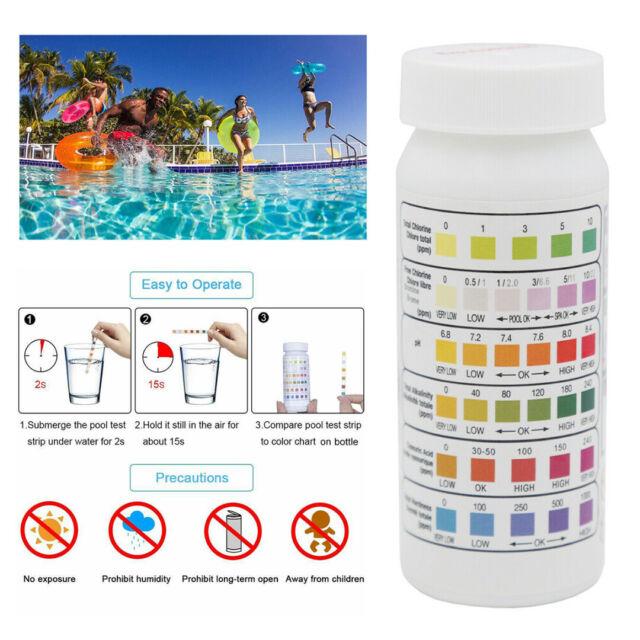 50Pcs 6in1 Swimming Pool SPA Test Strip Chlorine pH Alkalinity Water Hardness BE