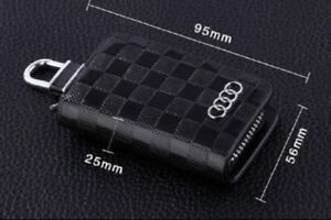 Audi Leather Car Key Keychain Fob Case Holder Zipper Cover S-line Black