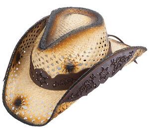 52aa7c92f20 Image is loading NEW-Western-Straw-Cowboy-Hat-Tan-amp-Dark-