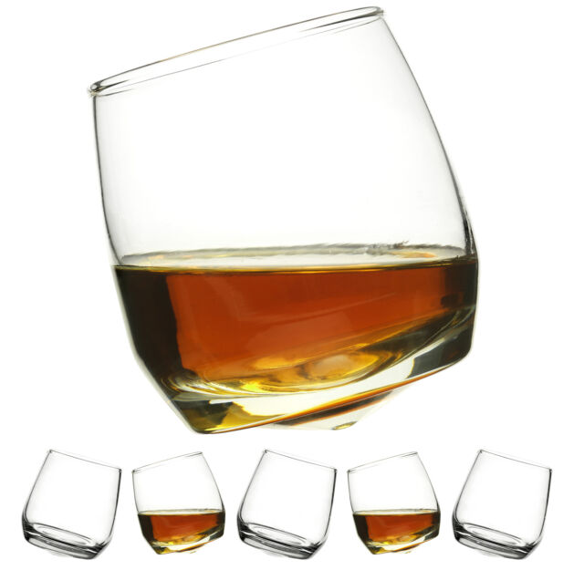 Sagaform Set Of 6 Glass Round Base Rocking Whiskey Glasses - 5015280