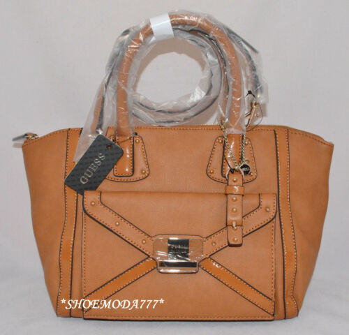 GUESS Chleo Shoulder Bag Purse Handbag Satchel Cognac Black Nude White Multi New