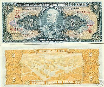 UNC 10 PCS BRAZIL  CRUZEIRO 2.00 P-157Aa ND 1956