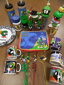 Marvin-The-Martian-BIG-LOT-Coffee-Crazy-Straw-Glass-Plate-Lunch-Box-Travel-Cup