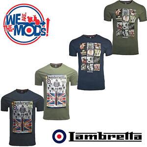Lambretta-T-shirts-Impresion-Scooter-Mod-Retro-De-Manga-Corta-Para-Hombre-Algodon-Reino-Unido-S-4XL