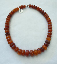 Beautiful Vintage Butterscotch Amber Faceted Round Bead Necklace honey Egg Yolk