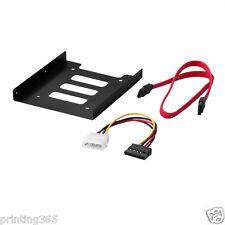 """Einbau Rahmen 2,5"""" auf 3,5"""" Zoll SSD HDD Adapter Halterung +Sata /Power Kabel"""