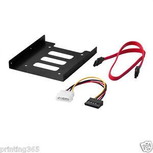 Einbau-Rahmen-2-5-034-auf-3-5-034-Zoll-SSD-HDD-Adapter-Halterung-Sata-Power-Kabel