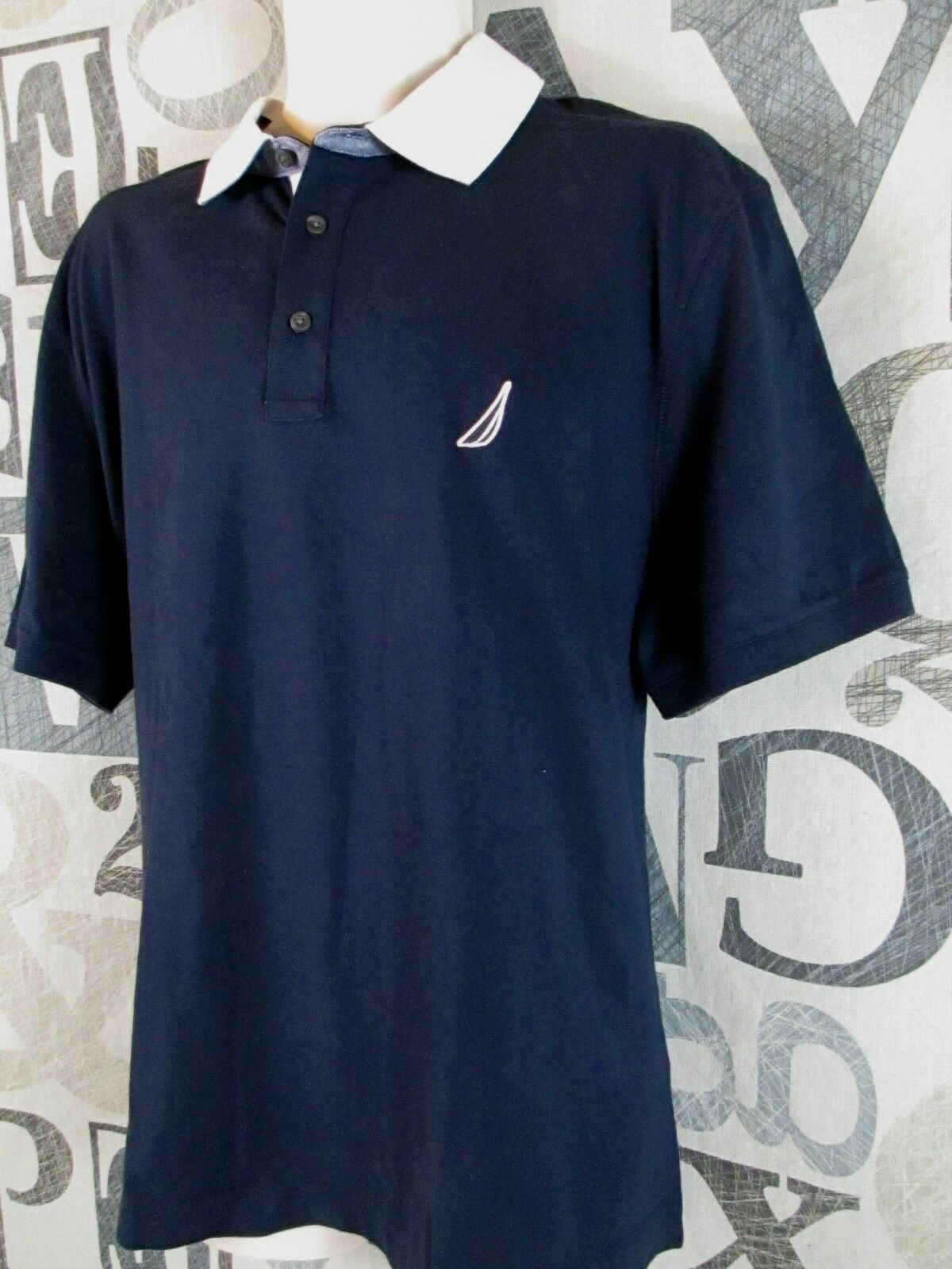 With Tag Nautica Polo Shirt Men Extra Large Xl Navy Blue Cotton
