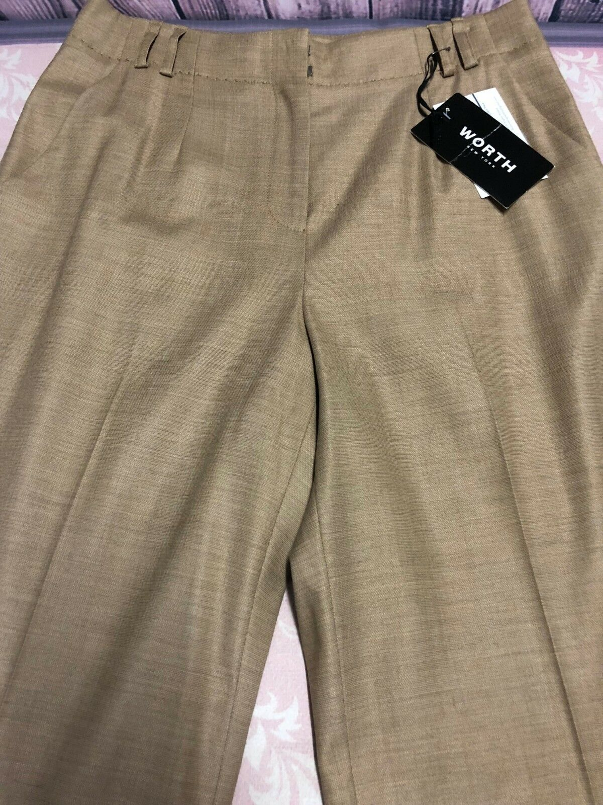 Worth NY Women's Pants Tan Wool Blend Fully Lined Pants Size 2 NWT
